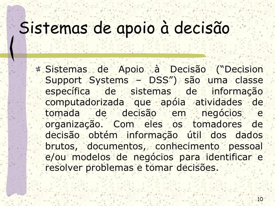 10 Sistemas de apoio à decisão Sistemas de Apoio à Decisão (Decision Support Systems – DSS) são uma classe específica de sistemas de informação comput