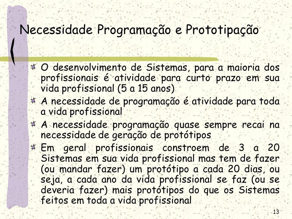 13 Necessidade Programação e Prototipação O desenvolvimento de Sistemas, para a maioria dos profissionais é atividade para curto prazo em sua vida pro