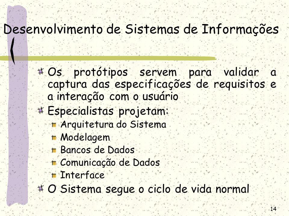 14 Desenvolvimento de Sistemas de Informações Os protótipos servem para validar a captura das especificações de requisitos e a interação com o usuário