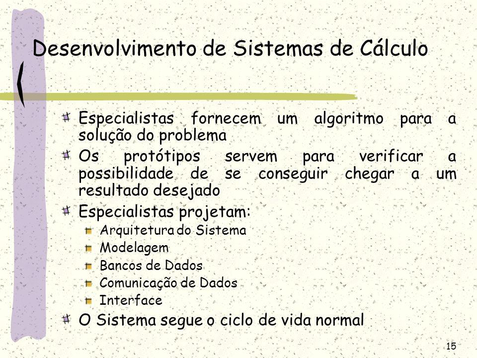 15 Desenvolvimento de Sistemas de Cálculo Especialistas fornecem um algoritmo para a solução do problema Os protótipos servem para verificar a possibi