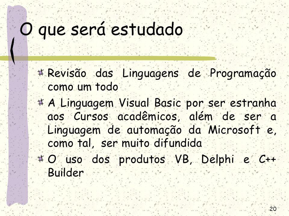 20 O que será estudado Revisão das Linguagens de Programação como um todo A Linguagem Visual Basic por ser estranha aos Cursos acadêmicos, além de ser