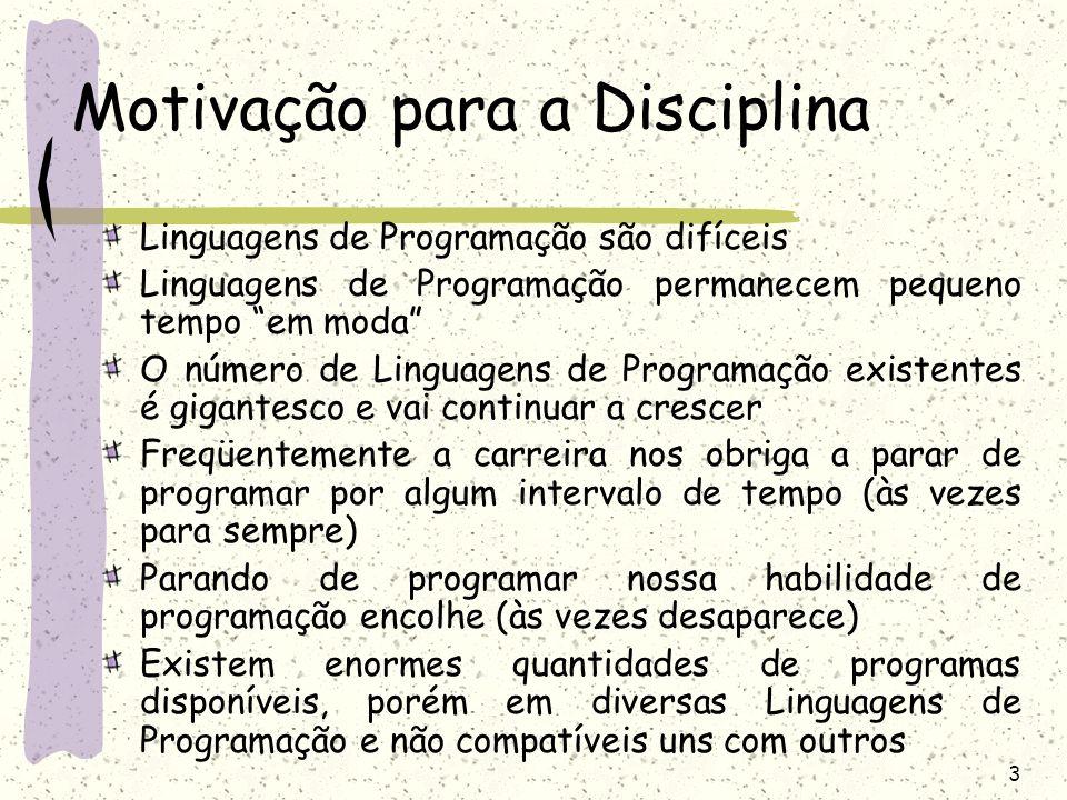 3 Motivação para a Disciplina Linguagens de Programação são difíceis Linguagens de Programação permanecem pequeno tempo em moda O número de Linguagens