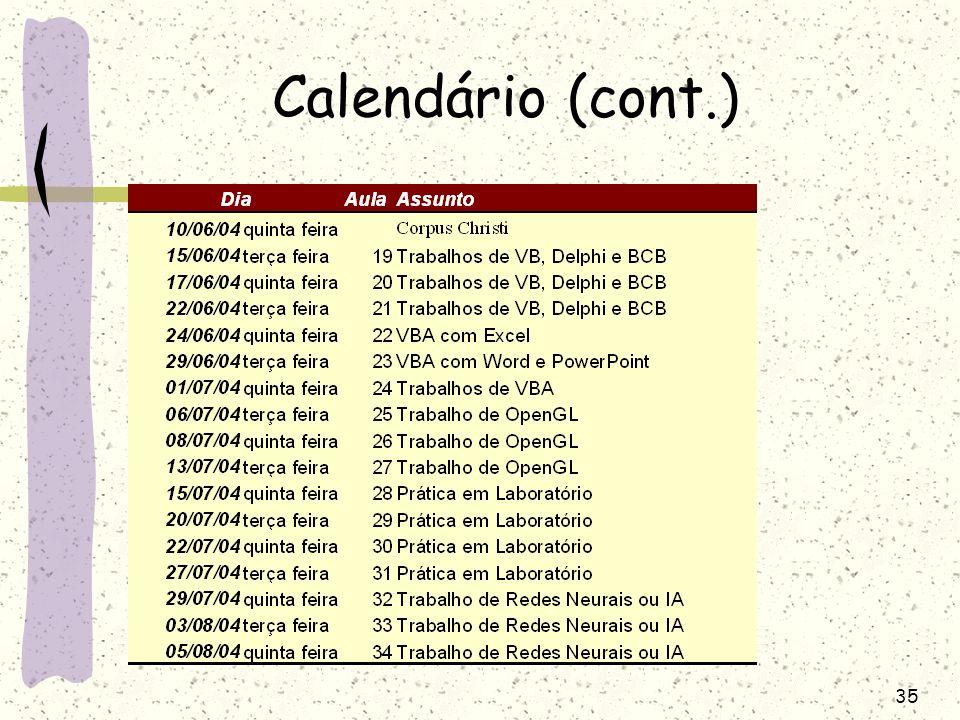 35 Calendário (cont.)