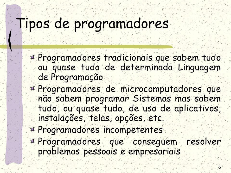 6 Tipos de programadores Programadores tradicionais que sabem tudo ou quase tudo de determinada Linguagem de Programação Programadores de microcomputa