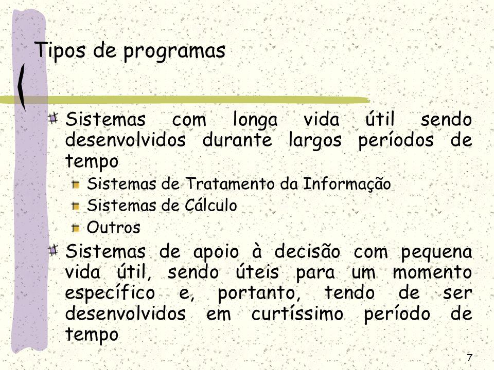 7 Tipos de programas Sistemas com longa vida útil sendo desenvolvidos durante largos períodos de tempo Sistemas de Tratamento da Informação Sistemas d