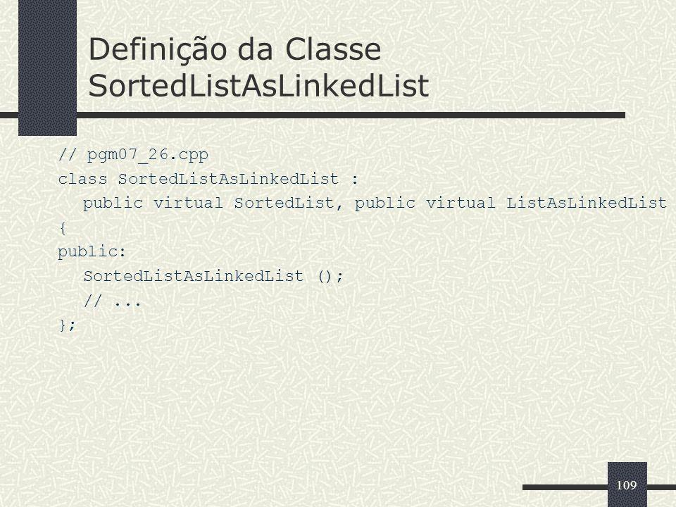 109 Definição da Classe SortedListAsLinkedList // pgm07_26.cpp class SortedListAsLinkedList : public virtual SortedList, public virtual ListAsLinkedLi