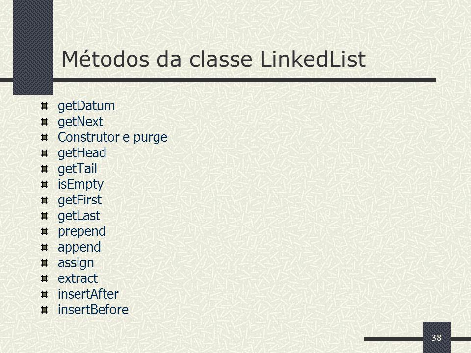 38 Métodos da classe LinkedList getDatum getNext Construtor e purge getHead getTail isEmpty getFirst getLast prepend append assign extract insertAfter