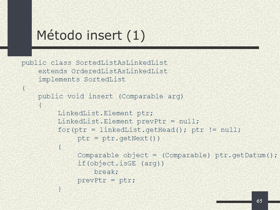 65 Método insert (1) public class SortedListAsLinkedList extends OrderedListAsLinkedList implements SortedList { public void insert (Comparable arg) {
