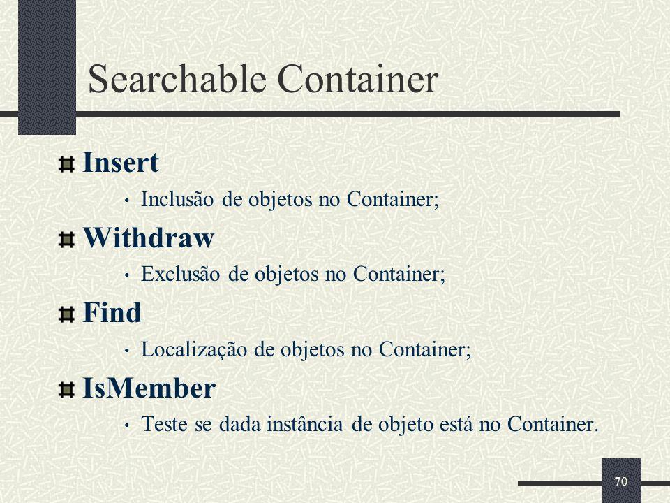 70 Searchable Container Insert Inclusão de objetos no Container; Withdraw Exclusão de objetos no Container; Find Localização de objetos no Container;