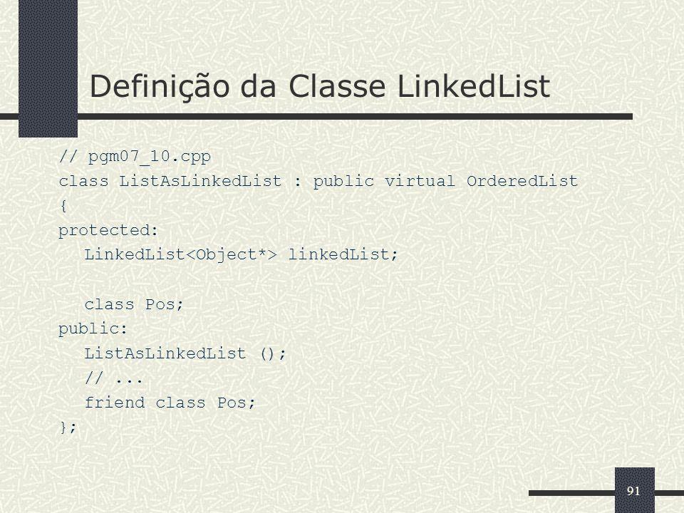 91 Definição da Classe LinkedList // pgm07_10.cpp class ListAsLinkedList : public virtual OrderedList { protected: LinkedList linkedList; class Pos; p