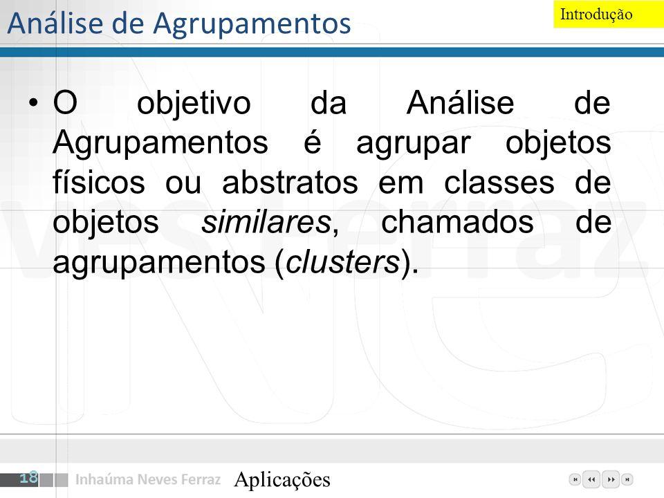 Análise de Agrupamentos O objetivo da Análise de Agrupamentos é agrupar objetos físicos ou abstratos em classes de objetos similares, chamados de agru