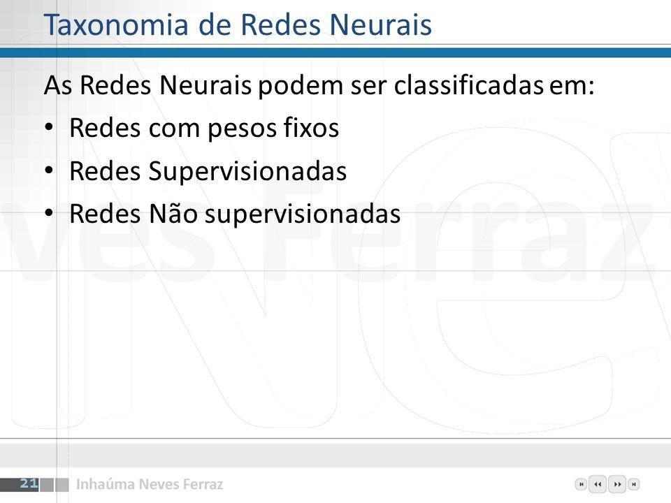 Taxonomia de Redes Neurais As Redes Neurais podem ser classificadas em: Redes com pesos fixos Redes Supervisionadas Redes Não supervisionadas 21