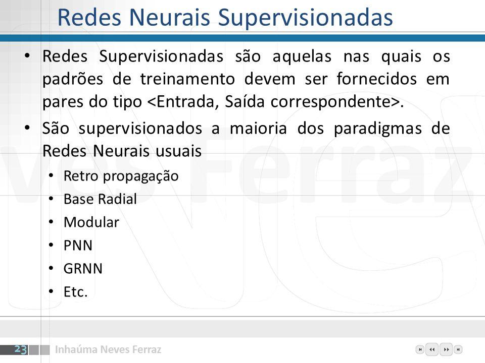 Redes Neurais Supervisionadas Redes Supervisionadas são aquelas nas quais os padrões de treinamento devem ser fornecidos em pares do tipo. São supervi