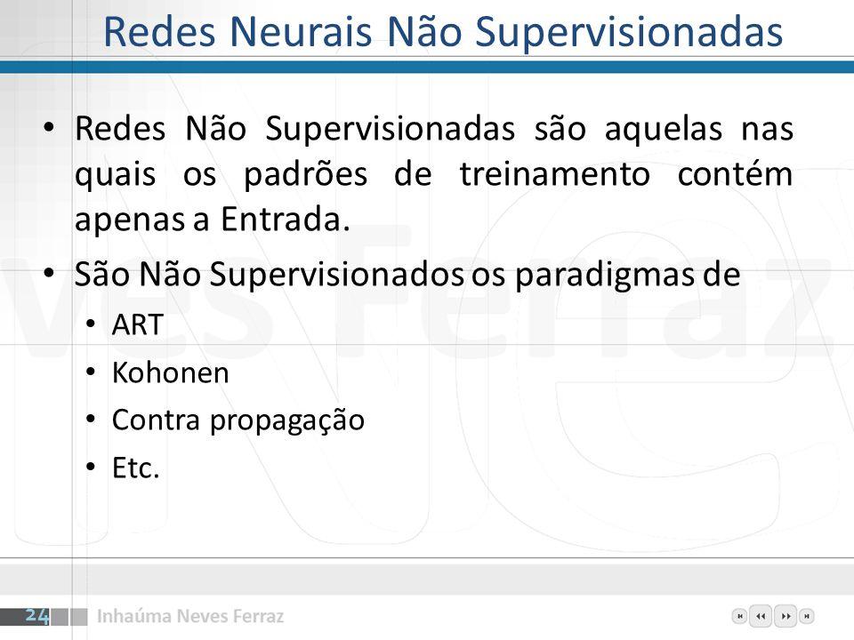 Redes Neurais Não Supervisionadas Redes Não Supervisionadas são aquelas nas quais os padrões de treinamento contém apenas a Entrada. São Não Supervisi