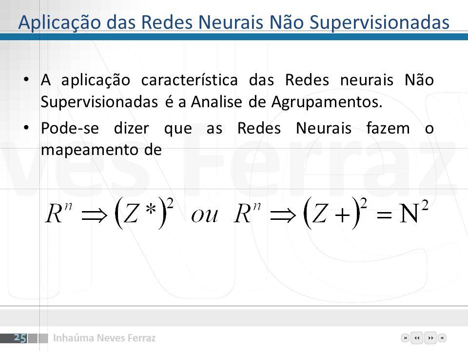 Aplicação das Redes Neurais Não Supervisionadas A aplicação característica das Redes neurais Não Supervisionadas é a Analise de Agrupamentos. Pode-se
