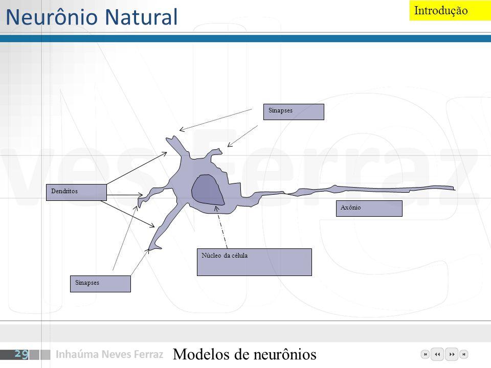 Neurônio Natural Modelos de neurônios 29 Dendritos Axônio Sinapses Núcleo da célula Introdução