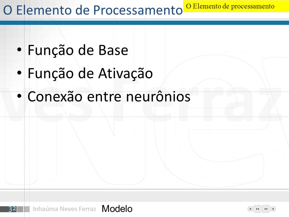 O Elemento de Processamento Função de Base Função de Ativação Conexão entre neurônios Modelo 32 O Elemento de processamento