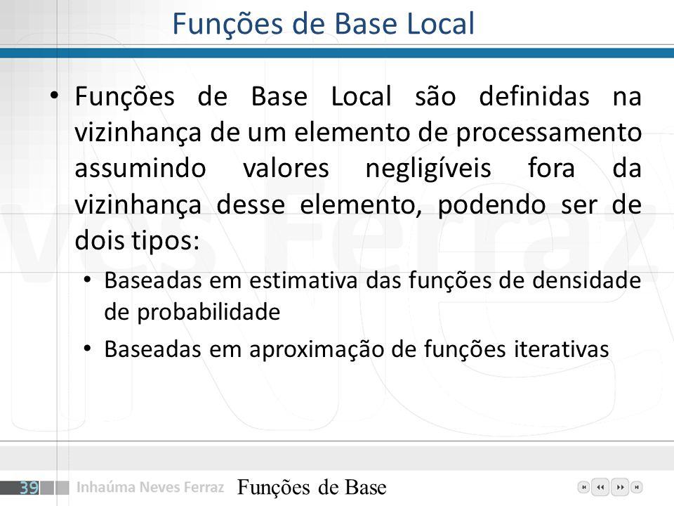 Funções de Base Local Funções de Base Local são definidas na vizinhança de um elemento de processamento assumindo valores negligíveis fora da vizinhan