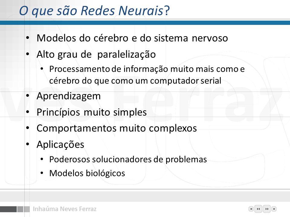 O que são Redes Neurais? Modelos do cérebro e do sistema nervoso Alto grau de paralelização Processamento de informação muito mais como e cérebro do q