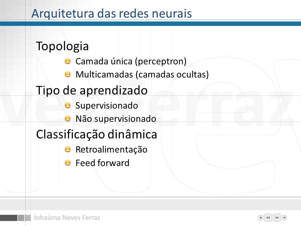 Arquitetura das redes neurais Topologia Camada única (perceptron) Multicamadas (camadas ocultas) Tipo de aprendizado Supervisionado Não supervisionado