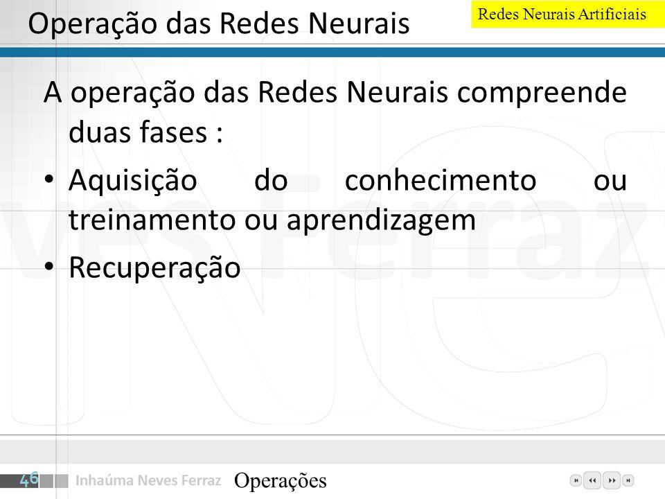 Operação das Redes Neurais A operação das Redes Neurais compreende duas fases : Aquisição do conhecimento ou treinamento ou aprendizagem Recuperação O