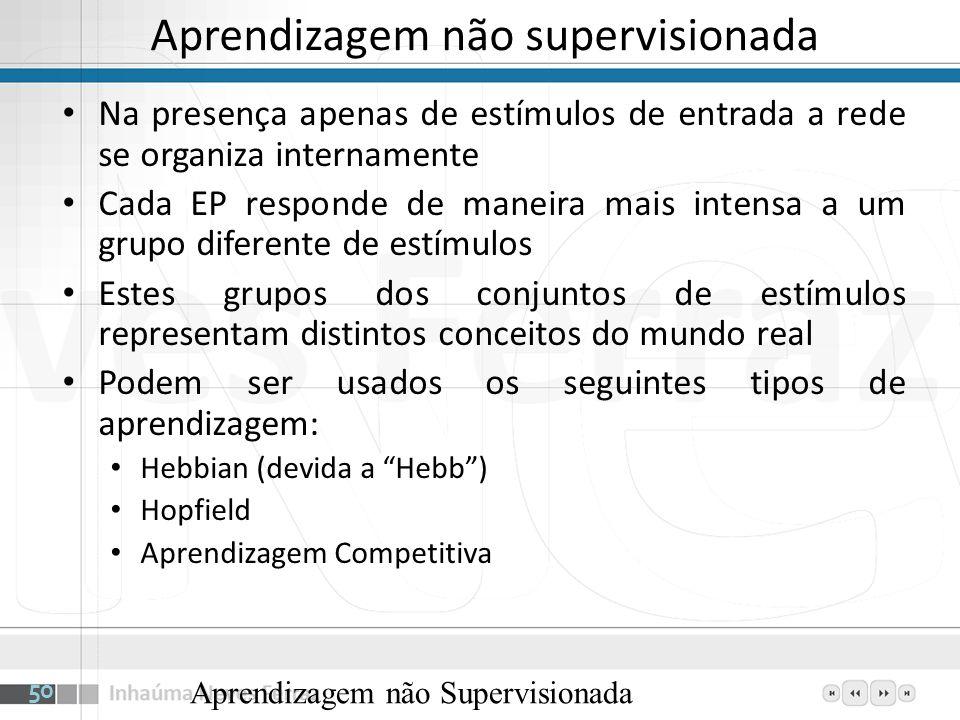 Aprendizagem não supervisionada Na presença apenas de estímulos de entrada a rede se organiza internamente Cada EP responde de maneira mais intensa a