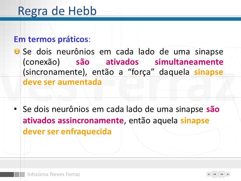 Regra de Hebb Em termos práticos: Se dois neurônios em cada lado de uma sinapse (conexão) são ativados simultaneamente (sincronamente), então a força