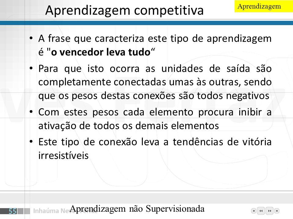 Aprendizagem competitiva A frase que caracteriza este tipo de aprendizagem é
