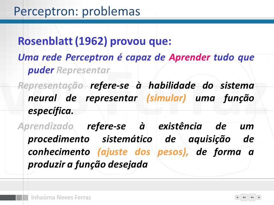Rosenblatt (1962) provou que: Uma rede Perceptron é capaz de Aprender tudo que puder Representar Representação refere-se à habilidade do sistema neura