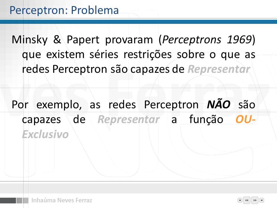 Minsky & Papert provaram (Perceptrons 1969) que existem séries restrições sobre o que as redes Perceptron são capazes de Representar Por exemplo, as r