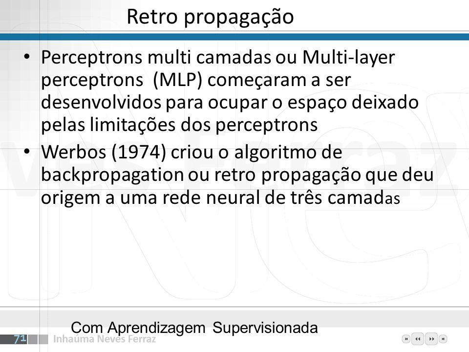 Retro propagação Perceptrons multi camadas ou Multi-layer perceptrons (MLP) começaram a ser desenvolvidos para ocupar o espaço deixado pelas limitaçõe