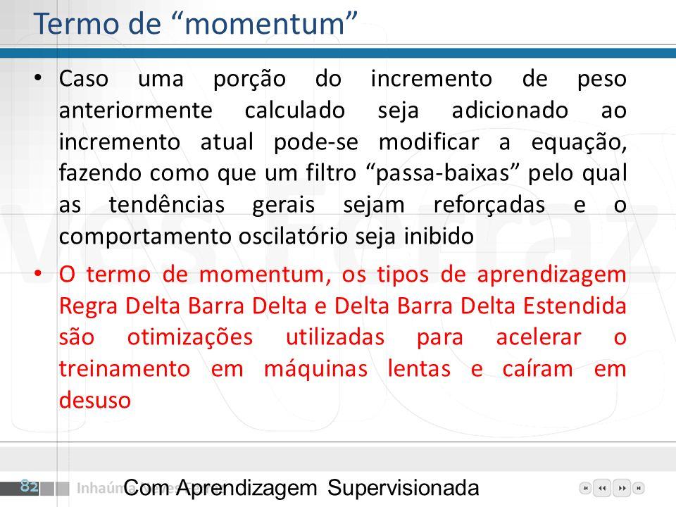 Termo de momentum Caso uma porção do incremento de peso anteriormente calculado seja adicionado ao incremento atual pode-se modificar a equação, fazen