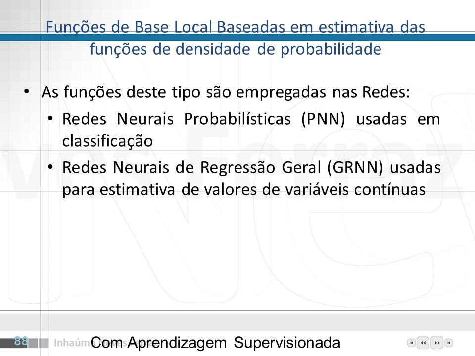 Funções de Base Local Baseadas em estimativa das funções de densidade de probabilidade As funções deste tipo são empregadas nas Redes: Redes Neurais P