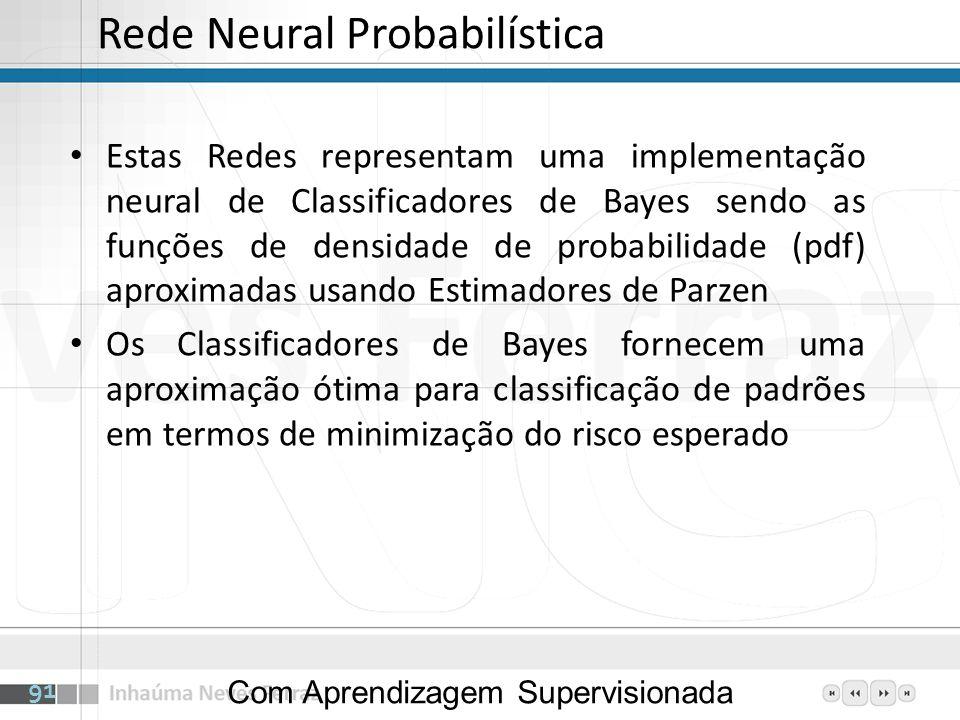 Rede Neural Probabilística Estas Redes representam uma implementação neural de Classificadores de Bayes sendo as funções de densidade de probabilidade