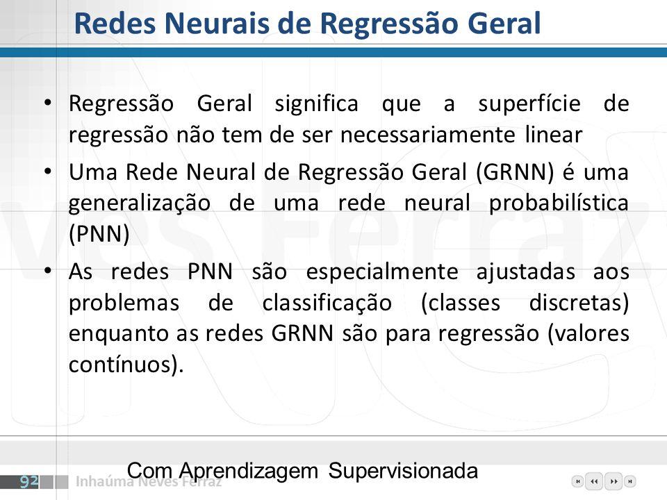 Redes Neurais de Regressão Geral Regressão Geral significa que a superfície de regressão não tem de ser necessariamente linear Uma Rede Neural de Regr
