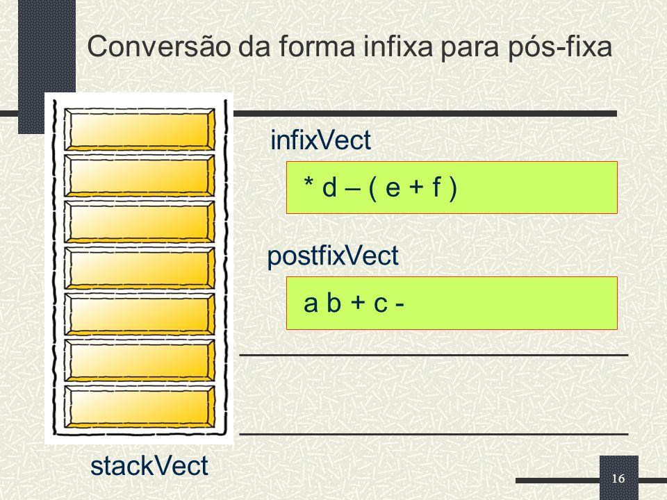 16 infixVect postfixVect * d – ( e + f ) a b + c - Conversão da forma infixa para pós-fixa stackVect