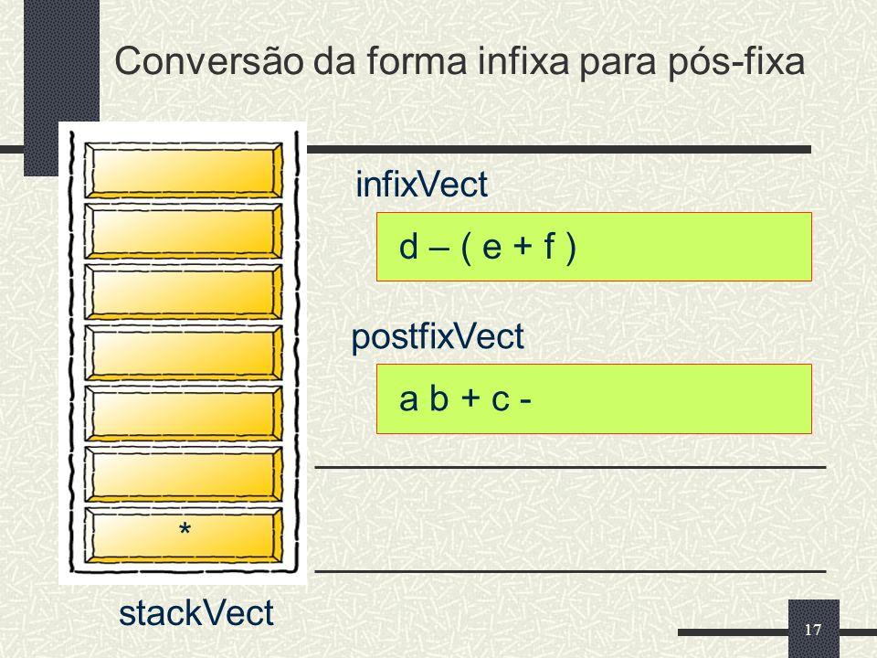 17 infixVect postfixVect d – ( e + f ) a b + c - * Conversão da forma infixa para pós-fixa stackVect