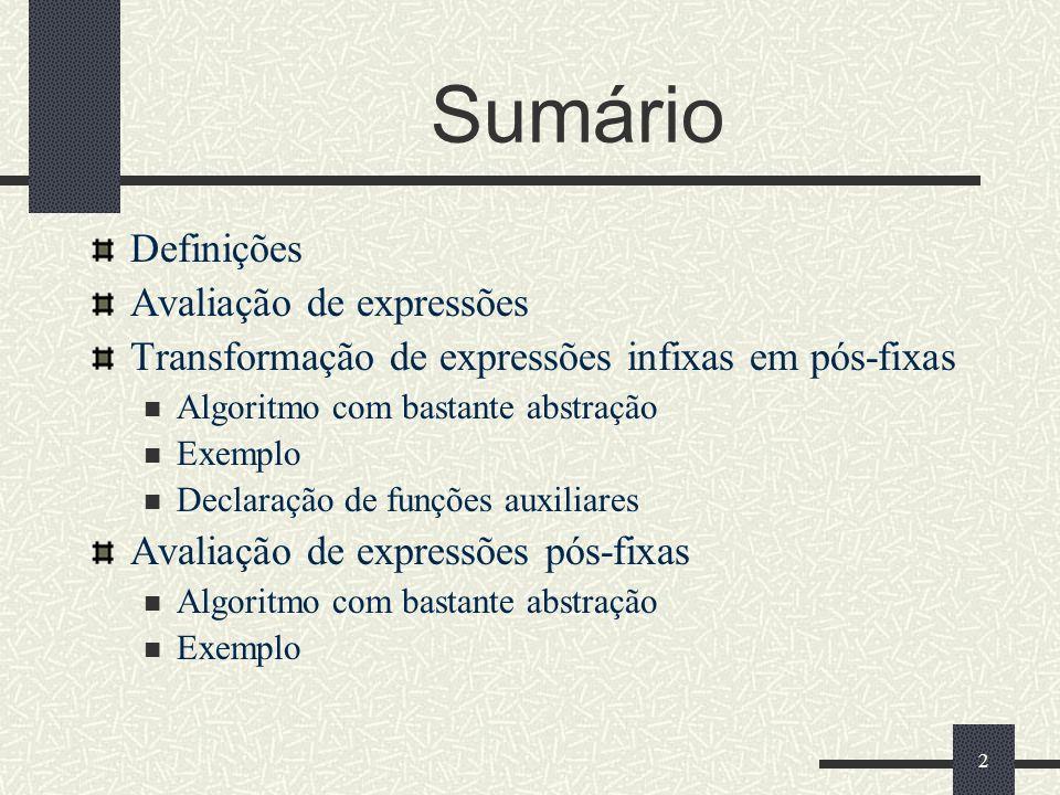 2 Sumário Definições Avaliação de expressões Transformação de expressões infixas em pós-fixas Algoritmo com bastante abstração Exemplo Declaração de f