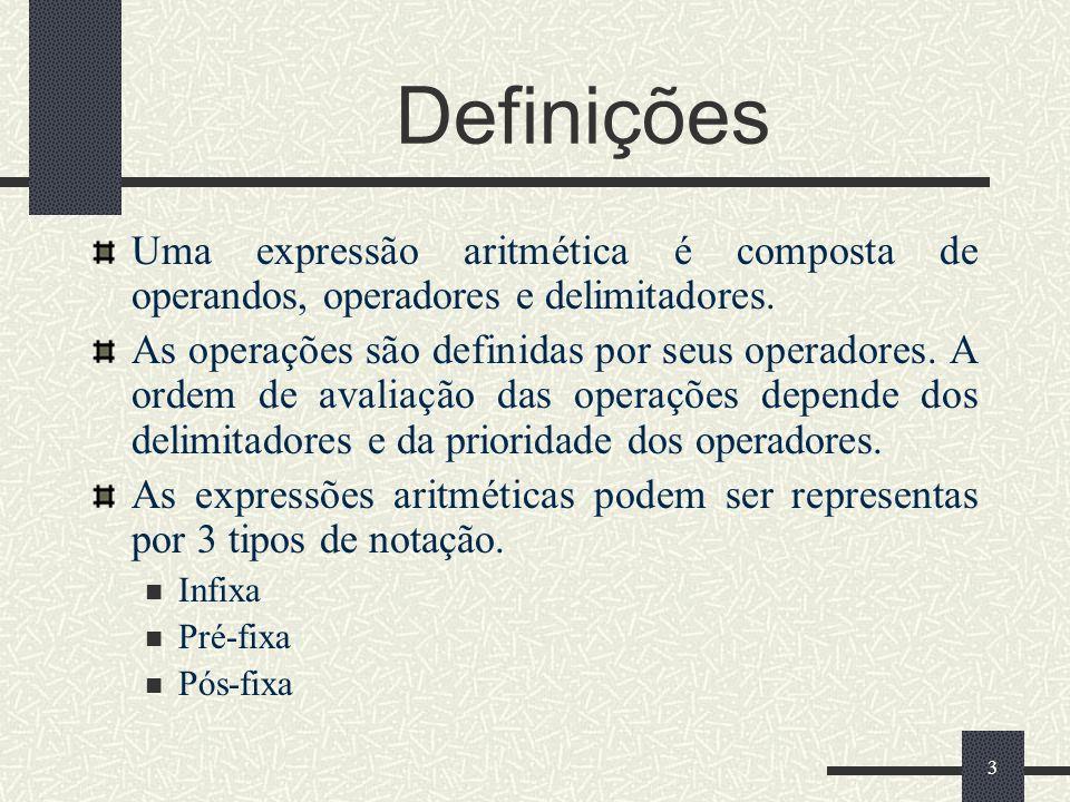 3 Definições Uma expressão aritmética é composta de operandos, operadores e delimitadores. As operações são definidas por seus operadores. A ordem de