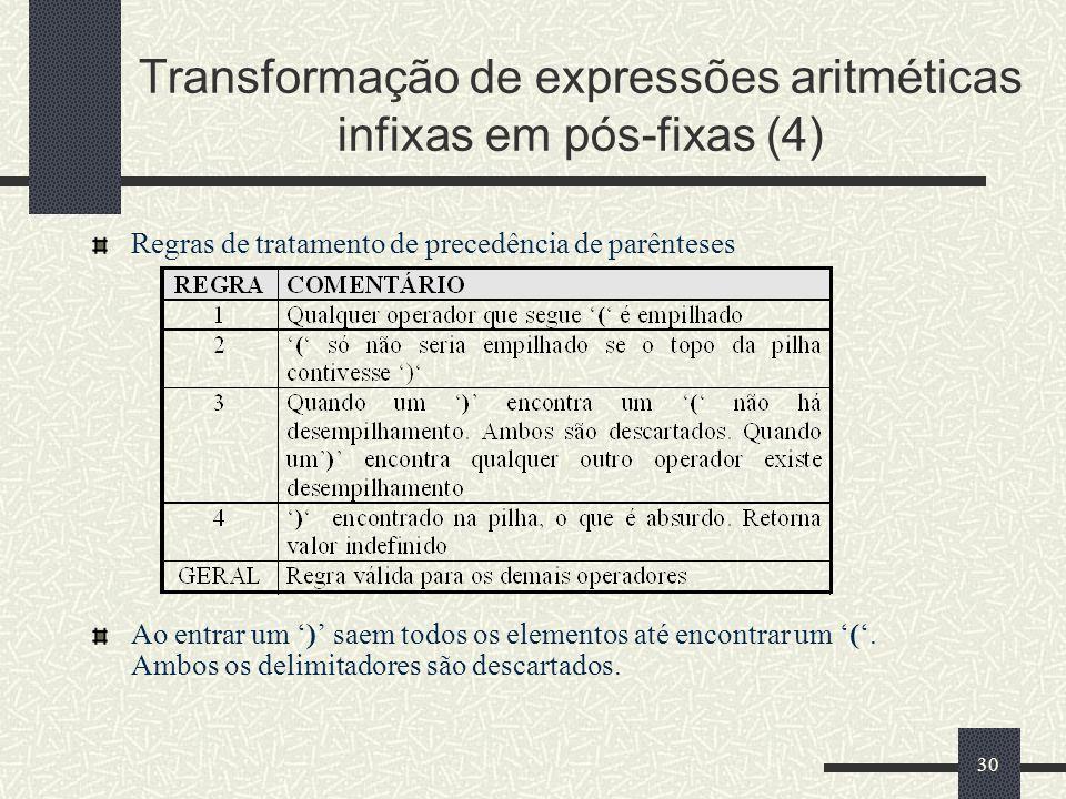 30 Transformação de expressões aritméticas infixas em pós-fixas (4) Regras de tratamento de precedência de parênteses Ao entrar um ) saem todos os ele