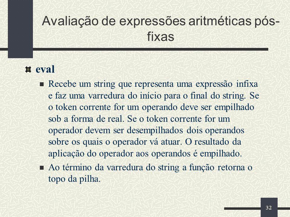 32 Avaliação de expressões aritméticas pós- fixas eval Recebe um string que representa uma expressão infixa e faz uma varredura do início para o final