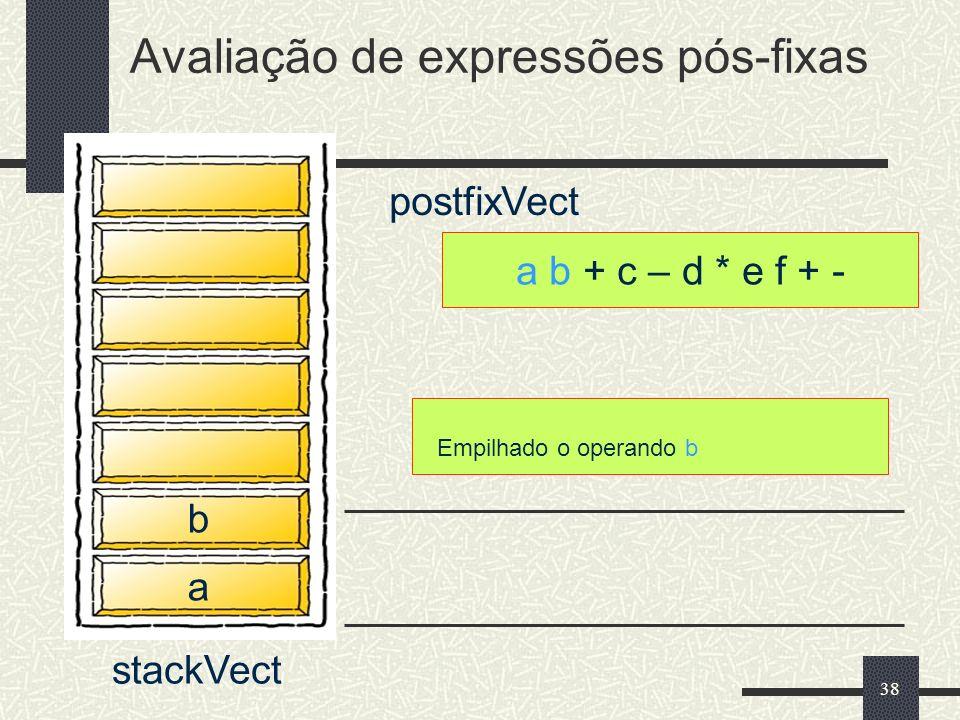 38 a b + c – d * e f + - postfixVect Avaliação de expressões pós-fixas stackVect a b Empilhado o operando b