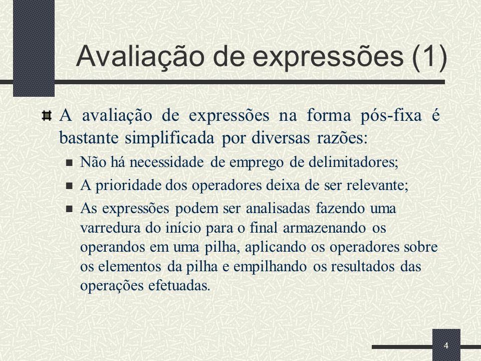 4 Avaliação de expressões (1) A avaliação de expressões na forma pós-fixa é bastante simplificada por diversas razões: Não há necessidade de emprego d