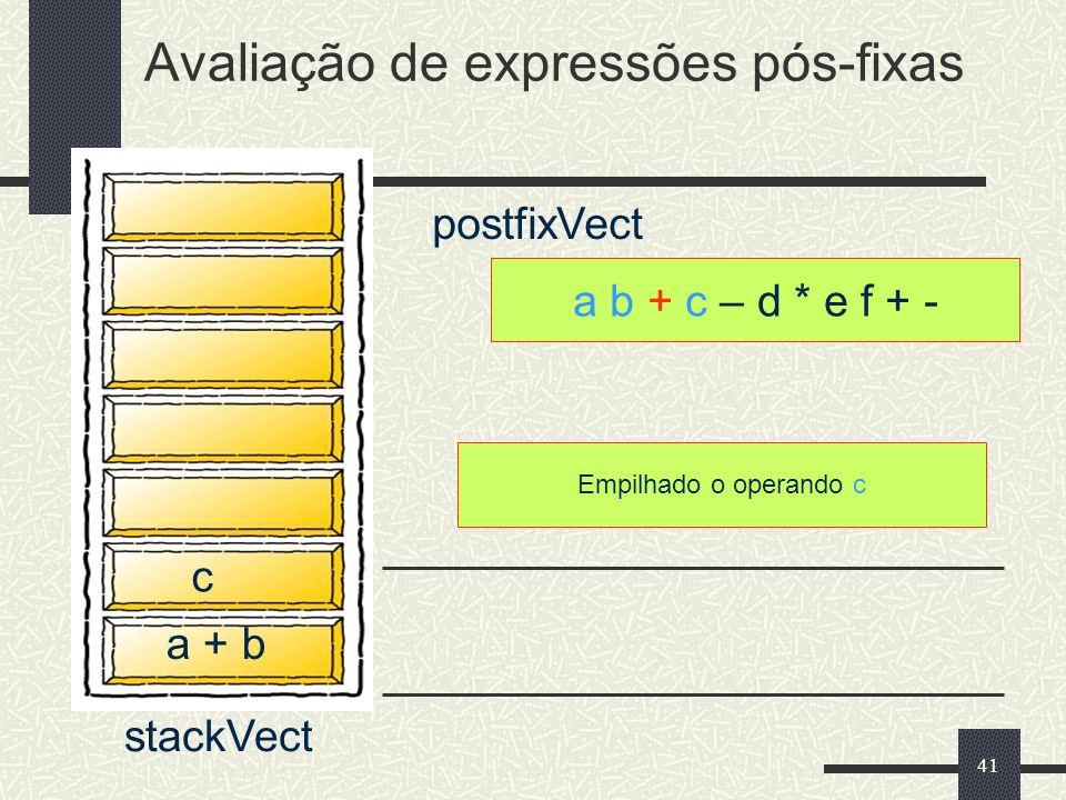 41 a b + c – d * e f + - postfixVect Empilhado o operando c Avaliação de expressões pós-fixas stackVect a + b c