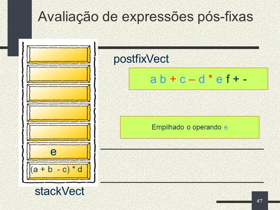 47 a b + c – d * e f + - postfixVect Empilhado o operando e Avaliação de expressões pós-fixas stackVect (a + b - c) * d e