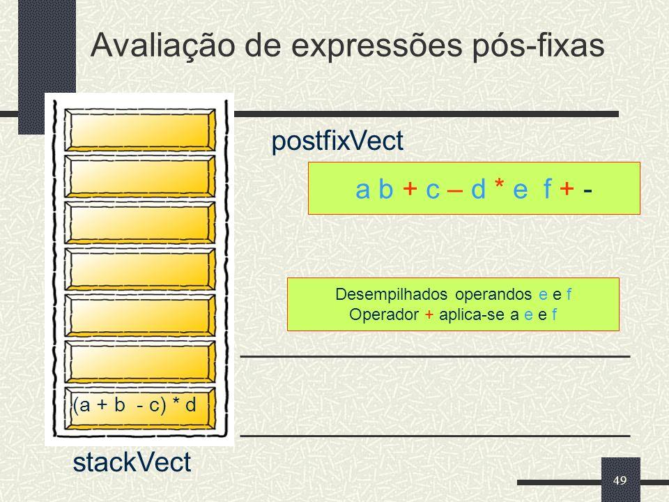 49 a b + c – d * e f + - postfixVect Desempilhados operandos e e f Operador + aplica-se a e e f Avaliação de expressões pós-fixas stackVect (a + b - c