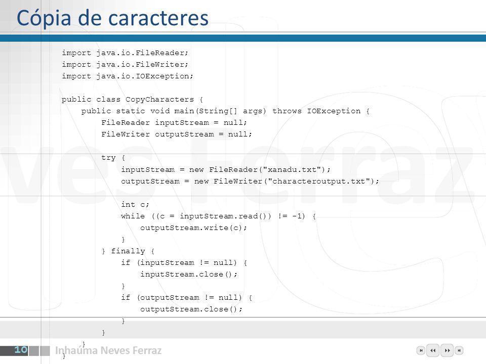 import java.io.FileReader; import java.io.FileWriter; import java.io.IOException; public class CopyCharacters { public static void main(String[] args)