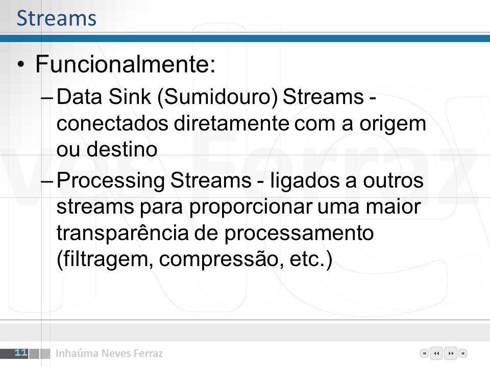 Funcionalmente: –Data Sink (Sumidouro) Streams - conectados diretamente com a origem ou destino –Processing Streams - ligados a outros streams para pr