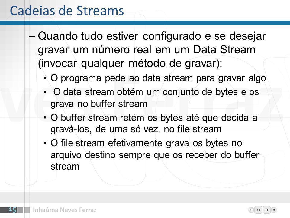 –Quando tudo estiver configurado e se desejar gravar um número real em um Data Stream (invocar qualquer método de gravar): O programa pede ao data str