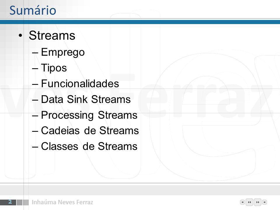 Sumário Streams –Emprego –Tipos –Funcionalidades –Data Sink Streams –Processing Streams –Cadeias de Streams –Classes de Streams 2